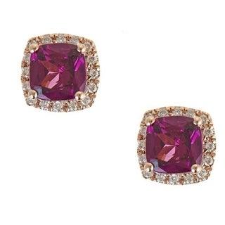 10K Rose Gold Rodholite and diamond Earrings by Anika And August - White