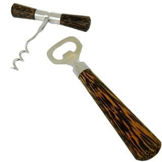 Inox 2-piece Coconut Wood Bottle Opener/Wine Corkscrew Set