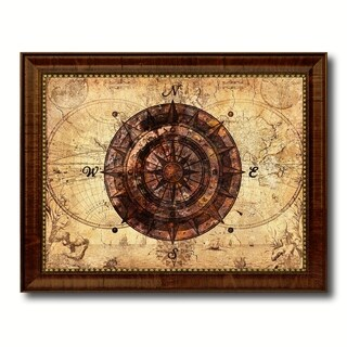 Compass Nautical Vintage Map Canvas Print with Picture Frame Ocean Office Home Decor Wall Art Display Sign Gift Ideas