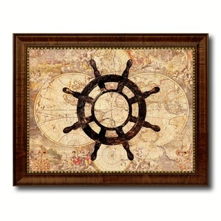 Wheel Nautical Vintage Map Canvas Print with Picture Frame Ocean Office Home Decor Wall Art Display Sign Gift Ideas