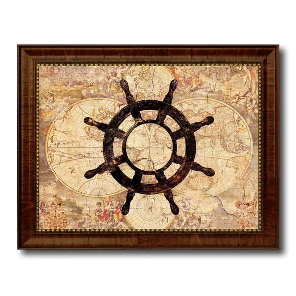Wheel Nautical Vintage Map Canvas Print with Picture Frame Ocean ...