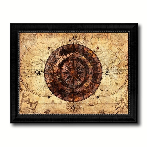 Shop Compass Nautical Vintage Map Canvas Print With Picture Frame Ocean Office Home Decor Wall