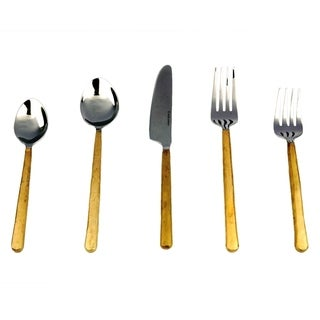 Inox Gold Toffee Design 5-piece Flatware Set
