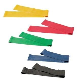 """CanDo® Band Exercise Loop - 5-piece set (30""""), (1 each: yellow, red, green, blue, black)"""