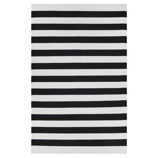 Handmade Fab Habitat-100% Recycled Cotton Flat Weave, Handwoven Floor Mat/Rug, Nantucket-Black & Bright White 10' x 14' (India)