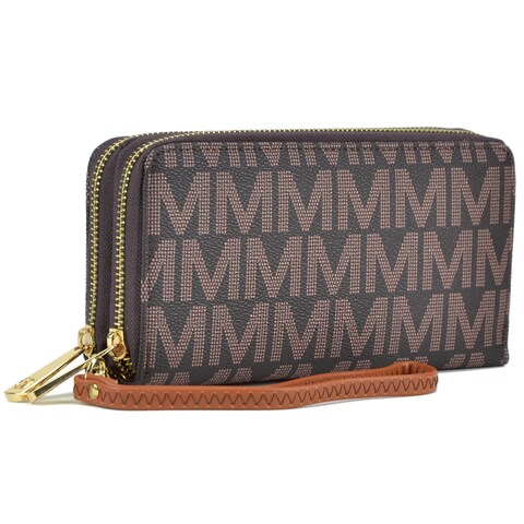 Milan Monogram Logo Double layer Zip Around Wallet
