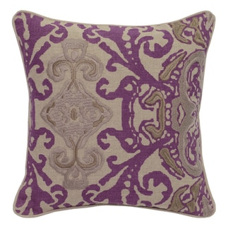 Riley Purple Linen Embroidered 18-inch Square Down and Feather Throw Pillow