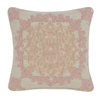 Vivian Pink Blush Cotton Hand Beaded 18-inch Square Down and Feather Throw Pillow