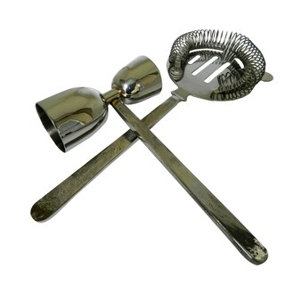 INOX Medoza Design 2-piece Polished Jigger/Cocktail Strainer Set