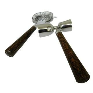 INOX 2-piece Coconut Wood Handled Jigger/Cocktail Strainer Set