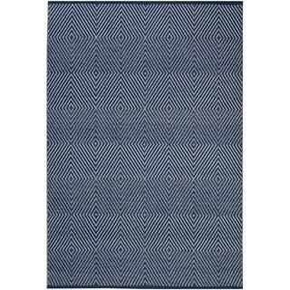 Fab Habitat Zen-Dark Blue/Bright White Recycled Cotton Flatweave Floor Mat/Rug (10' x 14')