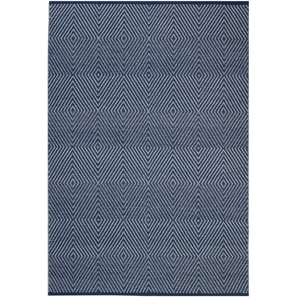 Shop Handmade Dark Blue And White Cotton Rug 10 X 14