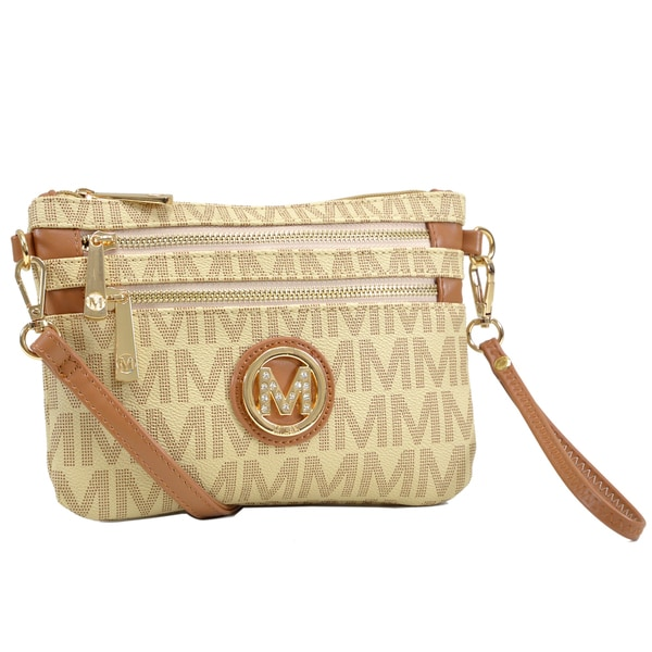 Milan by Dasein Monogram Logo Soft Faux Leather Messenger Crossbody  Clutch  Bag b81a43a8c19a3