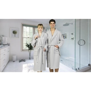 Authentic Hotel and Spa Light Grey Unisex Turkish Cotton Waffle Weave Terry Bath Robe with White Block Monogram