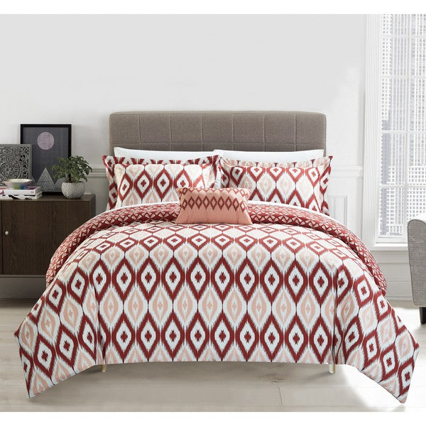 Chic Home Gabi 8 Piece Reversible Brick Ikat Duvet Cover and Sheet Set