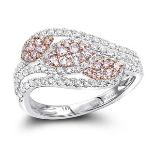 Luxurman Designer Cocktail Rings 14K Gold White Pink Diamond Leafs Ring for Women 1ct