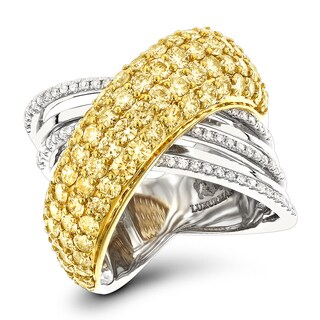 Luxurman 14K Gold Unique White Yellow Diamond Cocktail Ring for Women 3.5ct