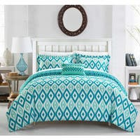 Chic Home Gabi 8-Piece Reversible Aqua Ikat Duvet Cover and Sheet Set