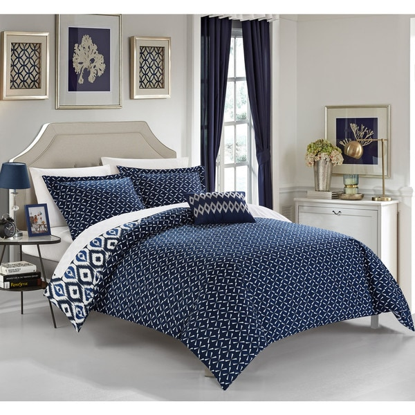 chic home gabi 8piece reversible navy ikat duvet cover and sheet set free shipping today