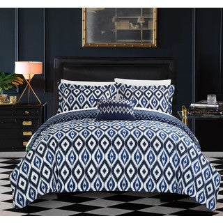 Chic Home Gabi 8-Piece Reversible Navy Ikat Duvet Cover and Sheet Set