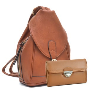 Dasein Classic Convertible Backpack Triangle Shoulder Sling Bag with Matching Wallet