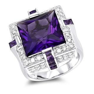 Luxurman 14K Gold Large Diamond Amethyst Cocktail Ring For Women By Luxurman 14ct