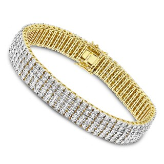Luxurman Sterling Silver 5 Row Diamond Bracelet 1.5ct Gold Plated