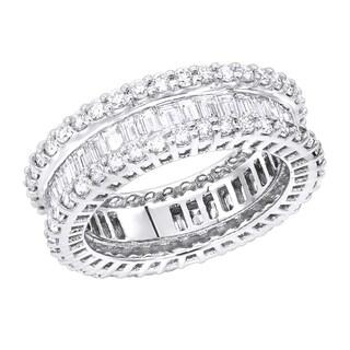 Luxurman 18K Designer Diamond Eternity Ring Baguette Round 4.38ct