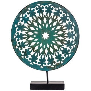"Teal Turquoise 12"" Metal Medallion Sculpture on Stand Table Top Decor"