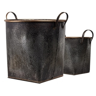 Galvanized Metal Baskets with Bronze Detail (Set of 2)