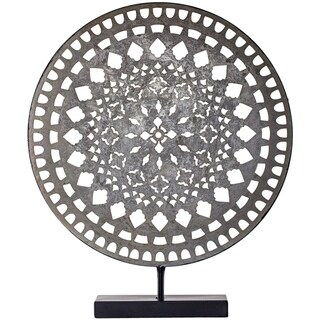 "American Art Decor Distressed Silver 16"" Metal Medallion Sculpture on Stand Table Top Decor"