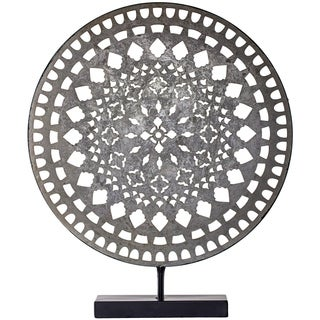 """Distressed Silver 16"""" Metal Medallion Sculpture on Stand Table Top Decor"""