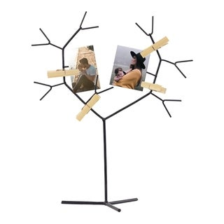 American Art Decor Metal Tree Photo Holder with Clothespin Clips Table Top Decor