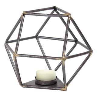 Geometric Metal Tealight Candle Holder Triangular Base Table Top Sculpture