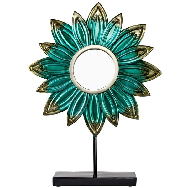 American Art Decor Metal Flower Turquoise Daisy Table Top Sculpture Decor