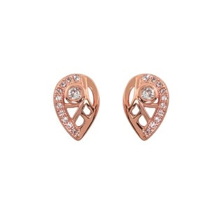Eternally Haute 14K Rose Gold Plated Pave Tear Drop Stud