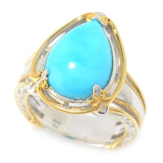Michael Valitutti Palladium Silver Pear Shaped Kingman Turquoise Polished Ring - Blue