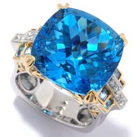 Michael Valitutti Palladium Silver Cushion Shaped Swiss Blue Topaz & White Zircon Ring