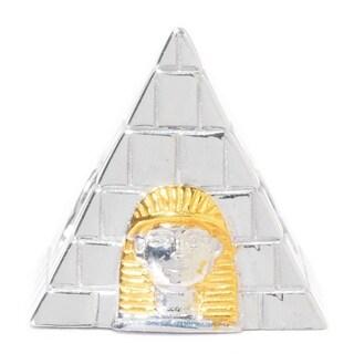 Michael Valitutti Palladium Silver Two-tone Egyptian Pyramid & Pharaoh Slide-on Charm