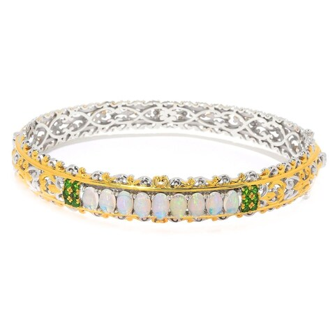 Michael Valitutti Palladium Silver Ethiopian Opal & Chrome Diopside Bangle Bracelet - White