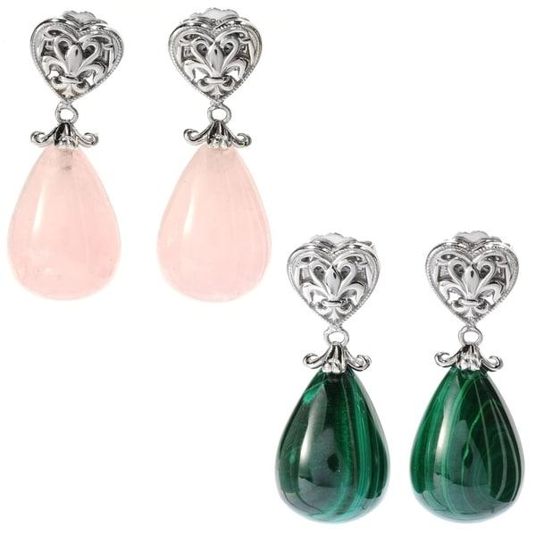 e519d309e Dallas Prince Sterling Silver Rose Quartz/Malachite Drop Earrings
