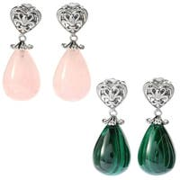 Dallas Prince Sterling Silver Rose Quartz/Malachite Drop Earrings
