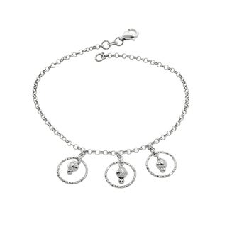 Eternally Haute Italian Solid Sterling Silver 3 Circles Drop Bracelet