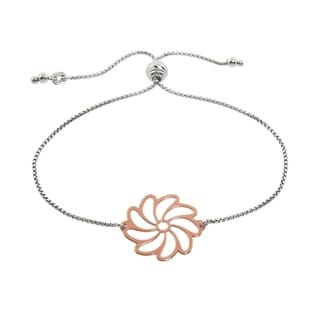 Eternally Haute Italian Solid Sterling Silver Adjustable Slider Flower Bracelet