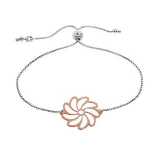 Eternally Haute Italian Solid Sterling Silver Adjustable Slider Flower Bracelet