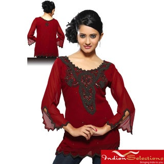 Handmade Georgette Maroon with Antique Beadwork Kurti/ Tunic (India) (As Is Item)