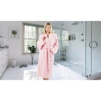 Authentic Hotel and Spa Unisex Pink Turkish Cotton Terry Bath Robe with White Block Monogram