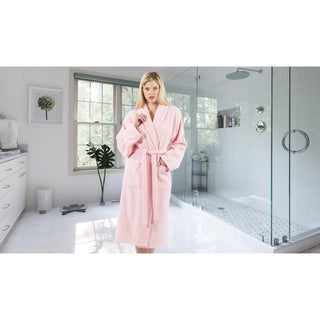Authentic Hotel and Spa Unisex Pink Turkish Cotton Terry Bath Robe with White Block Monogram (More options available)