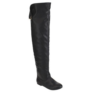 NATURE BREEZE FE61 Women Snap Cuff Over The Knee Flat Heel Boots (As Is Item)
