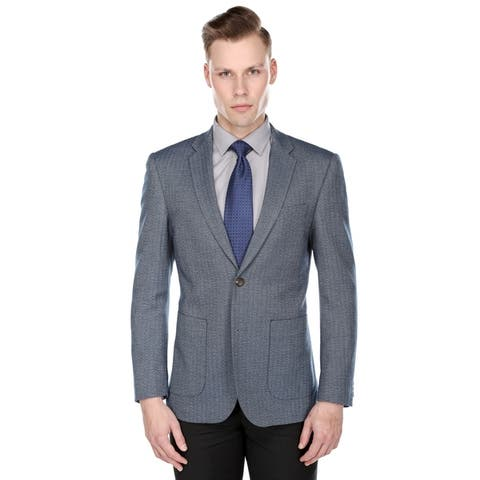 Gino Vitale Men's Slim Fit Herringbone Blazer